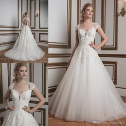 Wholesale 2016 Sparkle Wedding Dresses Inspired by Justin Alexander Elegant A Line Queen Anne Neckline with Short Cap Sleeves Beaded Lace Appliques