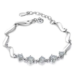 Crystal charm bracelets rhinestone 925 sterling silver items jewelry chain pulseras vintage girl hot fashion charms