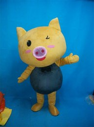 Wholesale Golden Pig Cartoon Costumes Animal Golden Pig Animated Cute Pig Mascot Costumes Clothing Walking Performance Clothing Custom