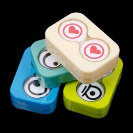 Wholesale-Mini Travel Cute Cartoon Eyes Shape Contact Lenses Case Box Container Holder SEGC #58356