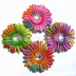 Descuento las cabezas de flor clips Venta por mayor Accesorios cabello niñas 60pcs 4 pulgadas Rainbow margaritas flor + pinza de pelo de la cabeza