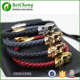 (10pcs wholesale )Free shipping BC Jewelry Northskull leather bracelet in genuine leather bracelet for men with stainless steel clasp BC-001