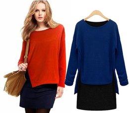 Orange Blue Patchwork plus size women clothing Round Neck Long Sleeve casual dress Vintage saias femininas Freeshipping