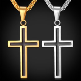 Wholesale Men s Classic Stainless Steel Mens Chains K Real Gold Plated Vintage Latin Christian Cross Pendants Necklaces
