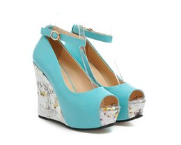 Wholesale Shoes Wholesales High Heels - Collette Sandals Shoes Fashion Shoes Wedges 2015 Summer New Super High Heels Floral Painted Mouth Color Mosaic Comfortable Thick Bottom