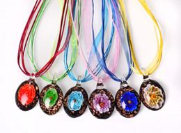 wholesale 6pcs handmade mix color Italian venetian Transparent Round Flower 3D Lampwork murano glass pendant 3+1 silk necklaces nl0181m*6