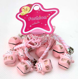Wholesale Hot sell Pink RICHNESS Maneki Neko Lucky Cat Bell Cell Phone Charm Strap