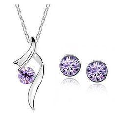 Wholesale New Fashion Austria crystal jewelry with Rhinestone necklace and earrings Swarovski Crystal jewelry set for woman z063