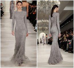 Spring 2016 Muslim High Neck Grey Lace Evening Dresses Runway Appliques Modest Women Long Sleeve Arabic Dubai Kaftan Formal Party Gowns