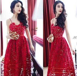 Wholesale New Style Hot sale fashion princess lovely Korean advanced customization chiffon red lace embroided straps influx mature dress