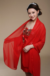 Wholesale Long Chiffon Bride shawl Custom Made Bridal Wraps Sunscreen Scarves Size cmX75cm Red Purple Pink Yellow Or Custom Color