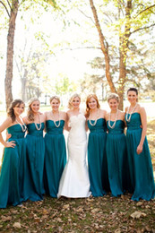 Hunter Green Chiffon Long A-Line Bridesmaid Dresses Ruched Sweetheart Floor Length Elegant Evening Prom Dress With Sash Plus Size Cheap