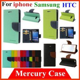 Mercury Portefeuille PU Flip Housse de protection pour iPhone 4 4S 5 5S 6 plus 4,7 samsung S3 S4 mini S5 Note 2 3 4 htc m7 m8 Avec fente pour carte à partir de mercure cas s4 fournisseurs