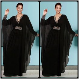 Wholesale Clothes Models Women Chiffon - 2016 New Caftan Dubai Arabic Kaftan Crystal Beaded Chiffon Black Long Sleeve Evening Dress Formal Gown Woman Islamic Clothing