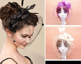 Wholesale Fascinators Net yarn feather bridal Veils top hat vintage women lady dance ball party headband headwear Tiaras Hair Accessories xmas gift
