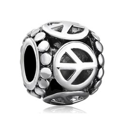 Personalized women jewelry European style hollow peace symbol metal spacer bead lucky charms fits Pandora charm bracelet