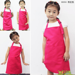Wholesale New Kids Aprons Pocket Craft Cooking Baking Art Painting Kids Kitchen Dining Bib Children Aprons Kids Aprons more colors