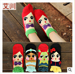 Wholesale multicolors High quality Women stereoscopic laciness bowknot Mermaid princess Snow White Jasmine Princess Fiona pure cotton socks