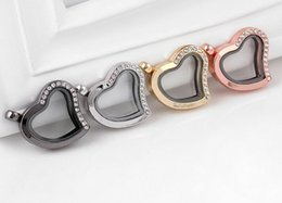 Wholesale 10PCS lot Heart Magnetic Glass Living Floating Charms Locket Pendant with Half Rhinestones Fashion Jewelrys