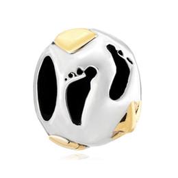 Fashion women jewelry European style baby footprint metal spacer bead lucky charms fits Pandora charm bracelet