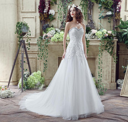 Luxury Plus Size Wedding Dresses Cheap With Crystals Beaded Lace Appliques Sweep Train 2016 Empire Bridal Gowns Real Photo In Stock