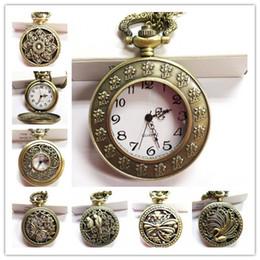 Wholesale Vine Bronze Pocket Watch Quartz Necklace Pendant Chain Wactches Clock Floral Antique Mine Hollow watches Mix style