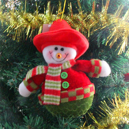 Wholesale 2015 Hot Christmas Tree Decoration Ornaments Hangings Pendant Gift Santa Claus Fawn Snowman Bear Muppets Toys Christmas Snowman Doll