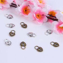 New Arrival Silver Copper retro Heart Lock Pendant Manufacture DIY jewelry pendant fit Necklace or Bracelets charm 500pcs lot 288w