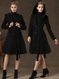 Elegance 2015 Fashion Plus Size Women Coat Ladies Hooded Wool Coat Black Long Woolen Overcoat Winter Outwear With Belt
