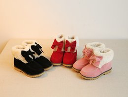 Wholesale HOT sale brand news feee shipping Bland New Princess Bow Cotton Boots Child Girls Kid Plus Velvet Flats Shoes