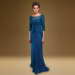 Royal Blue Chiffon Mother of The Bride Dresses Sexy Illusion Beading Evening Dress Lace Women Prom Gowns With Sleeves vestido de madrinha 46