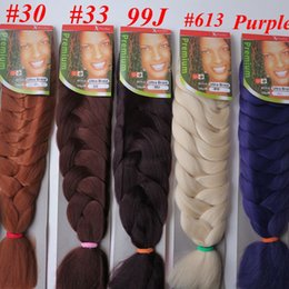 Wholesale Kanekalon Synthetic Jumbo braiding Hair Bulk inch g single color Xpression Synthetic Crochet Braids hair extensions More colors