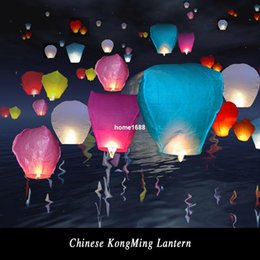 Wholesale Sky Lanterns For Wedding Decorations - Hot sale 10Pcs Chineses Paper Lantern Lamps Party Decoration Sky Fly Wishing lanterns For Outdoor Balloon UFO Assorted Color