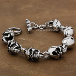 Various Lengths 316L Stainless Steel Mens Skull Biker Bracelet 5L018