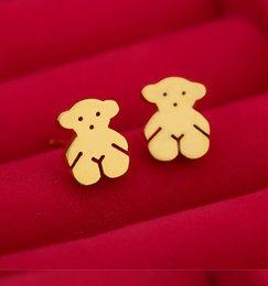 Wholesale Natural stay Meng Teddy Bear TOUS titanium steel earrings Ms cartoon summer beach Wedding jewelry pair B04