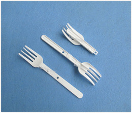 Free shipping Plastic Folding Noodle Forks HDPE Food Fork - white 200 pcs  lot OP906 12.8 x 2.3cm