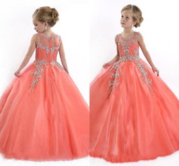 New 2016 Little Girls Pageant Dresses Princess Tulle Illusion Jewel Crystal Beads Coral Tulle Kids Flower Girls Dress Cheap Birthday gowns
