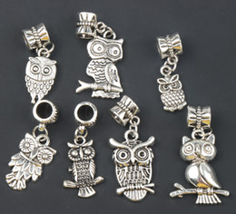 Wholesale New Antique Silver styles Assorted Bird Owl Dangle Big Hole Beads Fit European Charm Bracelet B1563 B993