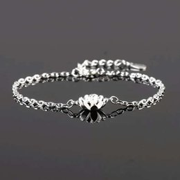 925 sterling silver items jewelry lotus flower charm bracelets chain wedding woman fashion vintage new arrival