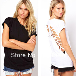 Women Casual Tops Solid Color Cotton T-Shirt Backless Blouse Hollow Wing Back Free&Drop Shipping