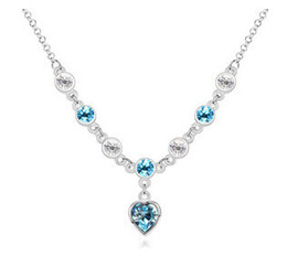Crystal Rhinestone Necklace Made With Swarovski Elements Wedding Bridal Heart Charm Pendants Charm Necklace Chain 10961