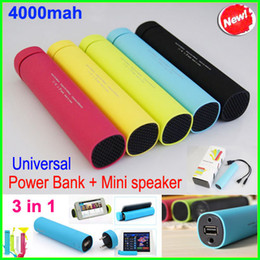 Wholesale 3 in Colorful mAh Mobile Power Bank With Stereo Speaker Tube Speakers Cellphone Stand Holder Charger External Battery Chargers