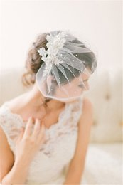 Wholesale Decent Birdcage Veils Wedding Hair Accessories Cap Crystal Applique One layer Short Tulle Bridal Headpieces Blusher Veil SKU452