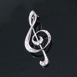 Wholesale Clear Crystal Rhinestone Silver Plated Music High Notes Pin Brooch Fashion jewelry gifts Fashion Brooch