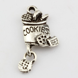 Wholesale Hot Antique Silver Alloy cookies Charm Pendant DIY Jewelry x mm
