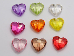 Wholesale 50 Mixed Colour Transparent Acrylic Faceted Heart Charm Beads X16mm