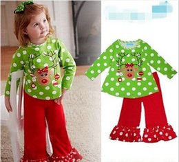 Wholesale Toddler baby Christmas outfit girls deer style t shirt ruffle pants sets children polka dot clothing kid spring fall wear outfit