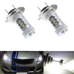 Wholesale 2X H7 W CREE LED Fog Tail Driving Car Head Light Lamp Bulb White Super Bright Led Car Fog Lights Bulb Car Headlight Degree White Light