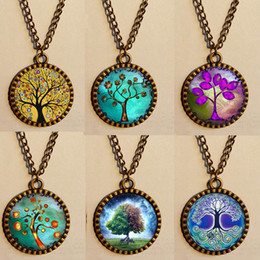 Wholesale Chakra Tree of life Necklace Gustav Klimt Throat Charms Mandala Antique glass Pendant jewelry chain Lover Moon Sun Yinyang