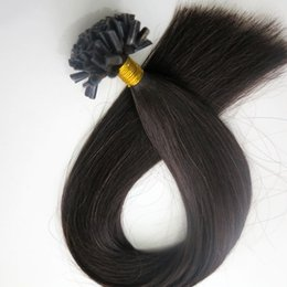 50g 50Strands Pre Bonded nail tip u tip human hair extensions 18 20 22 24inch #1B Off Black Brazilian Indian hair Top Quality